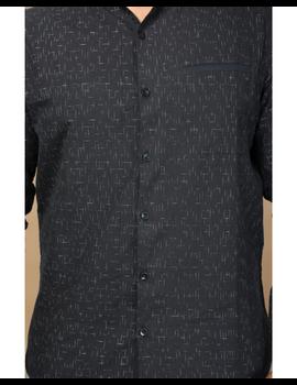 Black ikat mandarin collar full sleeves shirt for men: GT410E-XL-Black-4-sm