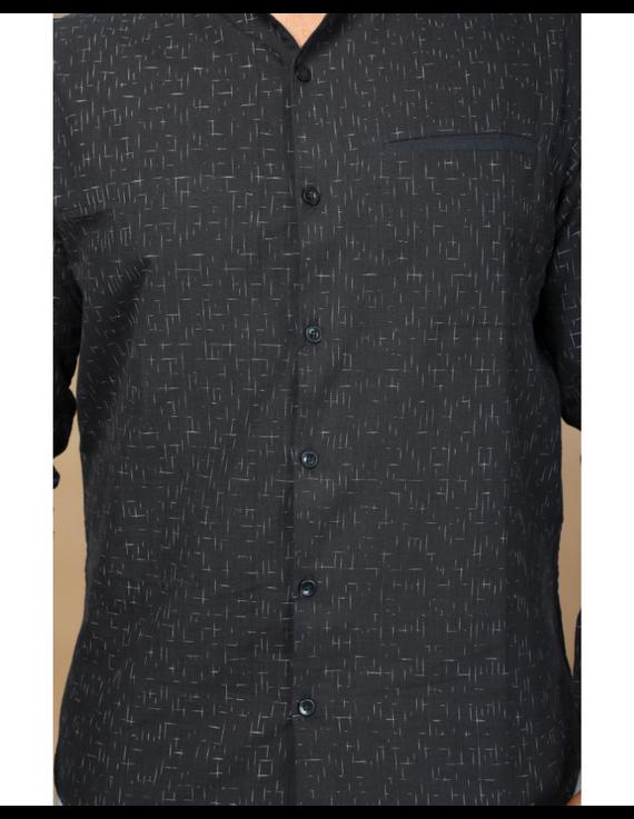 Black ikat mandarin collar full sleeves shirt for men: GT410E-XL-Black-4