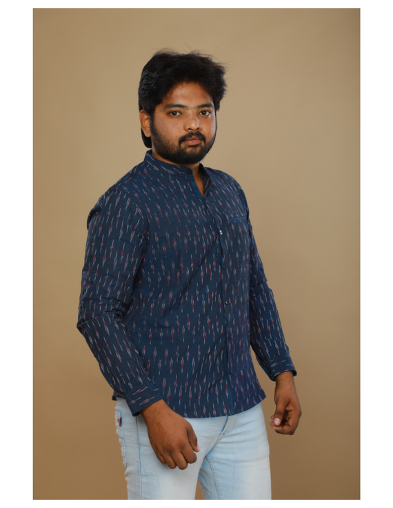 Navy blue ikat mandarin collar full sleeves shirt for men: GT410D-XL-Navy Blue-4