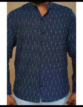 Navy blue ikat mandarin collar full sleeves shirt for men: GT410D-GT410D-XL-sm