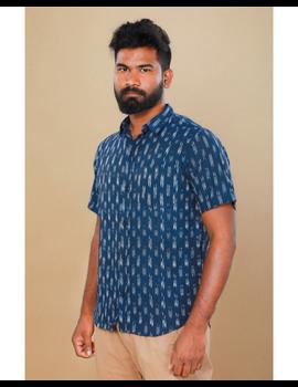 Navy blue casual shirt in ikat: GT420C-GT420C-M-sm
