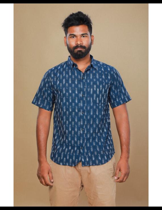 Navy blue casual shirt in ikat: GT420C-M-Navy Blue-2