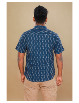 Navy blue casual shirt in ikat: GT420C-M-Navy Blue-3-sm