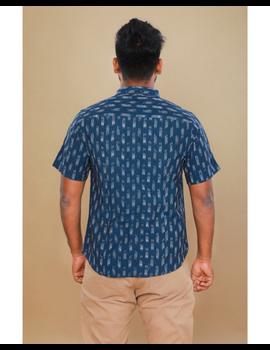 Navy blue casual shirt in ikat: GT420C-S-Navy Blue-2-sm
