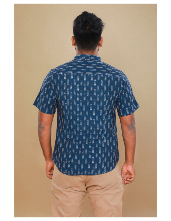 Navy blue casual shirt in ikat: GT420C-S-Navy Blue-2