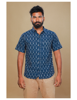 Navy blue casual shirt in ikat: GT420C-S-Navy Blue-3-sm