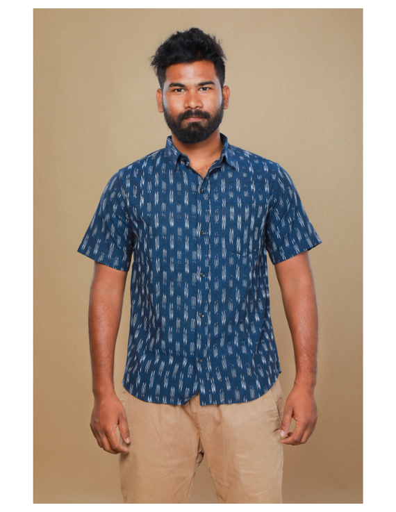 Navy blue casual shirt in ikat: GT420C-S-Navy Blue-3