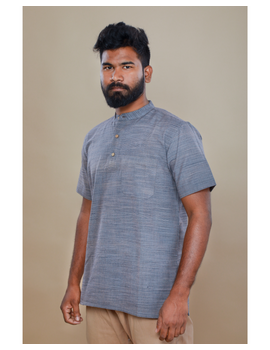 Steel grey handloom cotton short kurta with half sleeves: GT401HFA-M-Steel Grey-2-sm