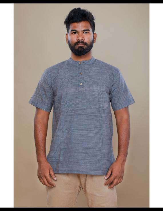 Steel grey handloom cotton short kurta with half sleeves: GT401HFA-M-Steel Grey-3