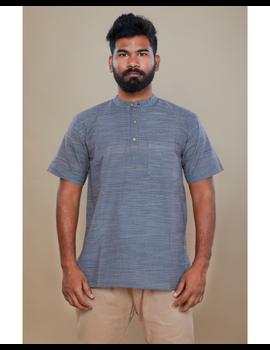 Steel grey handloom cotton short kurta with half sleeves: GT401HFA-S-Steel Grey-2-sm