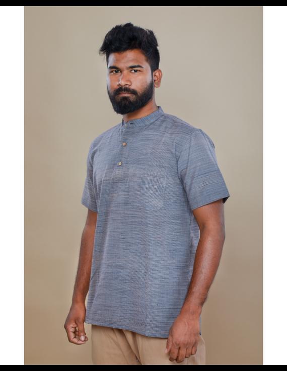Steel grey handloom cotton short kurta with half sleeves: GT401HFA-S-Steel Grey-3