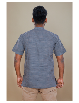Steel grey handloom cotton short kurta with half sleeves: GT401HFA-S-Steel Grey-4-sm