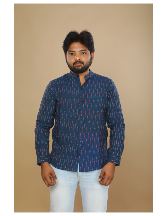 Navy blue ikat mandarin collar full sleeves shirt for men: GT410D-XXL-Navy Blue-1