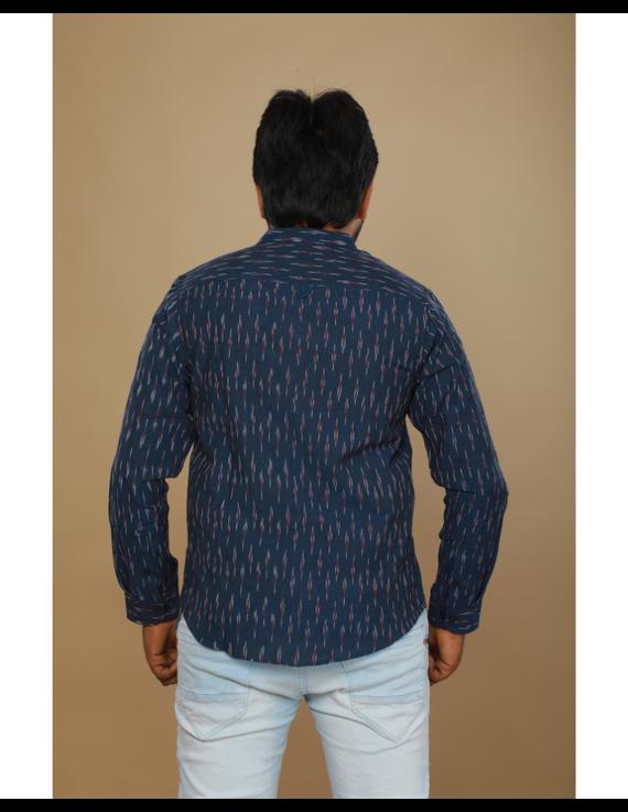 Navy blue ikat mandarin collar full sleeves shirt for men: GT410D-XXL-Navy Blue-3