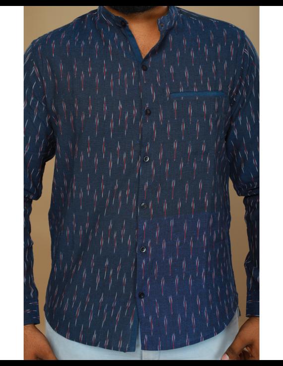 Navy blue ikat mandarin collar full sleeves shirt for men: GT410D-GT410D-XXL