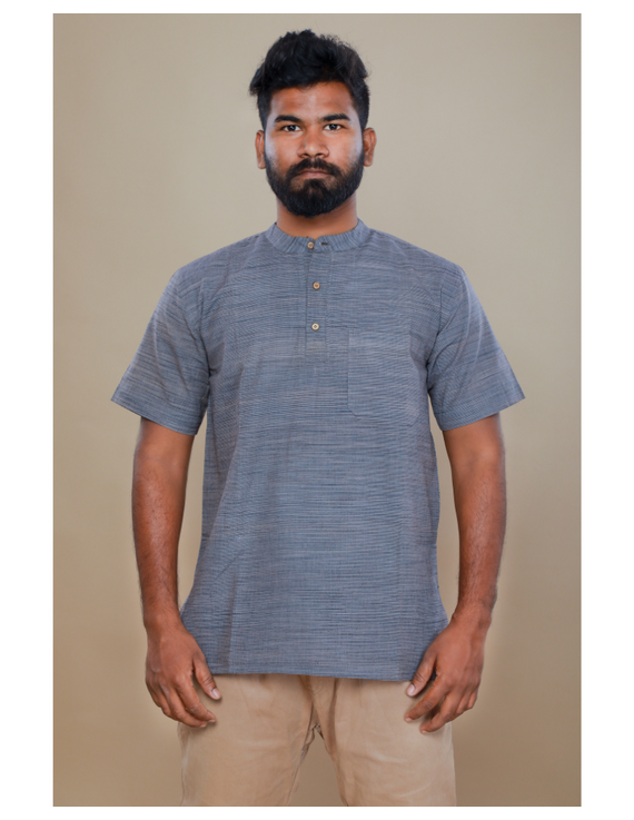 Steel grey handloom cotton short kurta with half sleeves: GT401HFA-XL-Steel Grey-3
