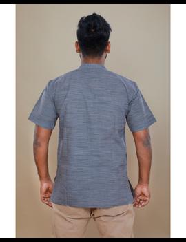 Steel grey handloom cotton short kurta with half sleeves: GT401HFA-L-Steel Grey-1-sm