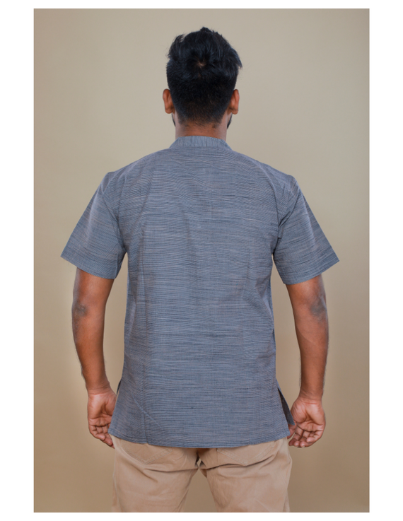 Steel grey handloom cotton short kurta with half sleeves: GT401HFA-L-Steel Grey-1