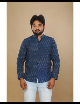 Navy blue ikat mandarin collar full sleeves shirt for men: GT410D-L-Navy Blue-1-sm