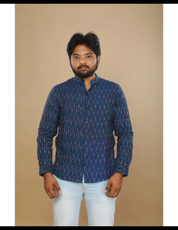 Navy blue ikat mandarin collar full sleeves shirt for men: GT410D-L-Navy Blue-1