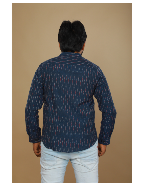 Navy blue ikat mandarin collar full sleeves shirt for men: GT410D-L-Navy Blue-2
