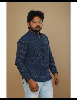 Navy blue ikat mandarin collar full sleeves shirt for men: GT410D-L-Navy Blue-3-sm