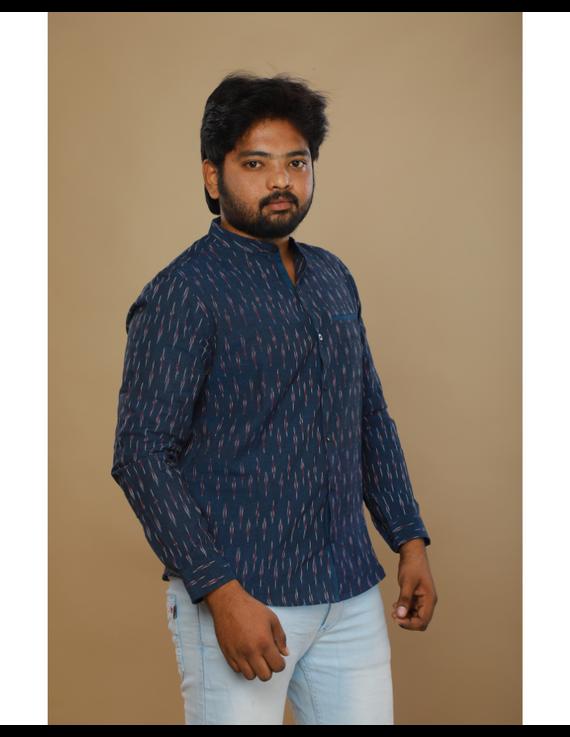 Navy blue ikat mandarin collar full sleeves shirt for men: GT410D-L-Navy Blue-3