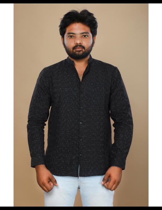 Black ikat mandarin collar full sleeves shirt for men: GT410E-XXL-Black-2