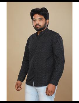 Black ikat mandarin collar full sleeves shirt for men: GT410E-GT410E-L-sm
