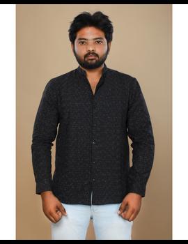 Black ikat mandarin collar full sleeves shirt for men: GT410E-L-Black-2-sm