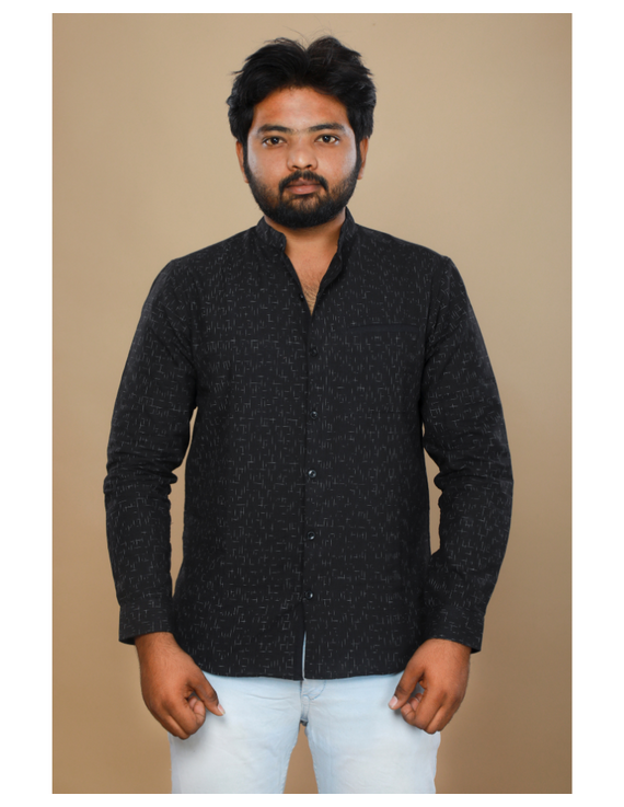 Black ikat mandarin collar full sleeves shirt for men: GT410E-L-Black-2