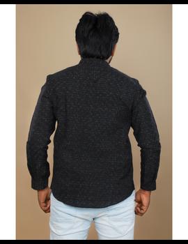 Black ikat mandarin collar full sleeves shirt for men: GT410E-L-Black-3-sm
