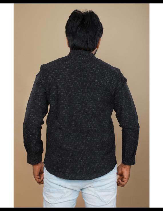 Black ikat mandarin collar full sleeves shirt for men: GT410E-L-Black-3