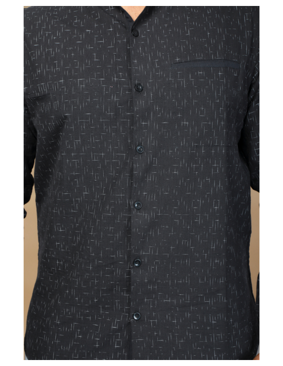 Black ikat mandarin collar full sleeves shirt for men: GT410E-L-Black-4