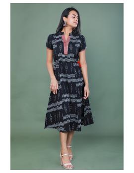 LEAF MOTIF BLACK IKAT A-LINE DRESS : LD350B-LD350B-L-sm