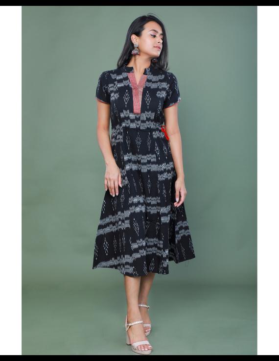 LEAF MOTIF BLACK IKAT A-LINE DRESS : LD350B-LD350B-L
