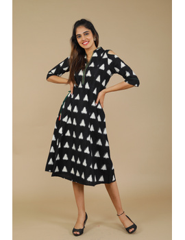 Black Ikat cold shoulder dress with drawstring waist- LD360C-LD360C-L-sm