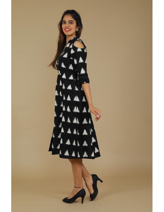 Black Ikat cold shoulder dress with drawstring waist- LD360C-L-1