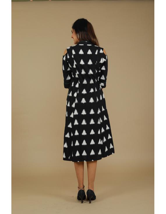 Black Ikat cold shoulder dress with drawstring waist- LD360C-L-2