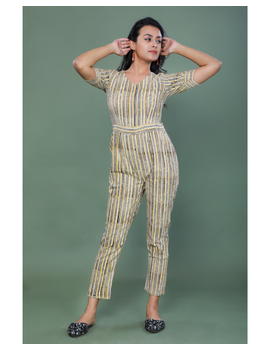 Kalamkari cotton maroon striped jumpsuit : JS100A-S-3-sm