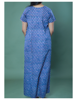 BLUE SANGANERI BLOCK PRINT EMBROIDERED NIGHTY: NW100A-M-1-sm