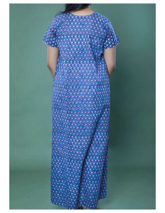 BLUE SANGANERI BLOCK PRINT EMBROIDERED NIGHTY: NW100A-M-1
