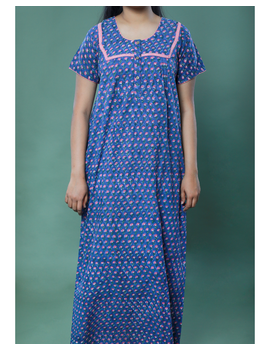 BLUE SANGANERI BLOCK PRINT EMBROIDERED NIGHTY: NW100A-M-3-sm