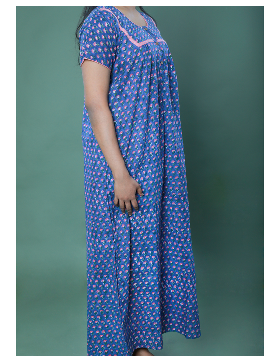 BLUE SANGANERI BLOCK PRINT EMBROIDERED NIGHTY: NW100A-M-4