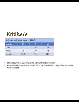 Kalamkari cotton yellow striped jumpsuit : JS100B-M-1-sm