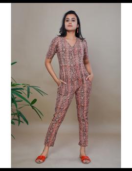 Kalamkari cotton yellow striped jumpsuit : JS100B-JS100Bp-S-sm