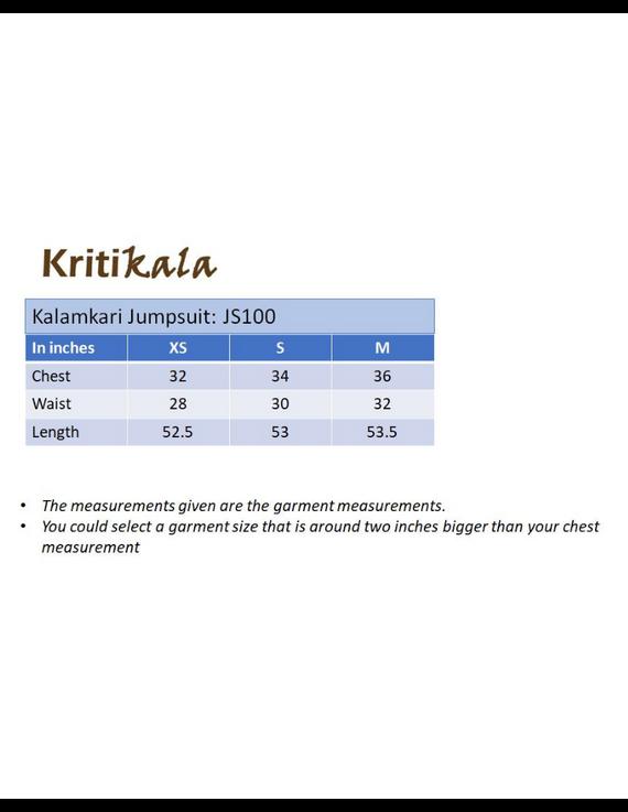 Kalamkari cotton maroon striped jumpsuit : JS100A-XS-XS-1