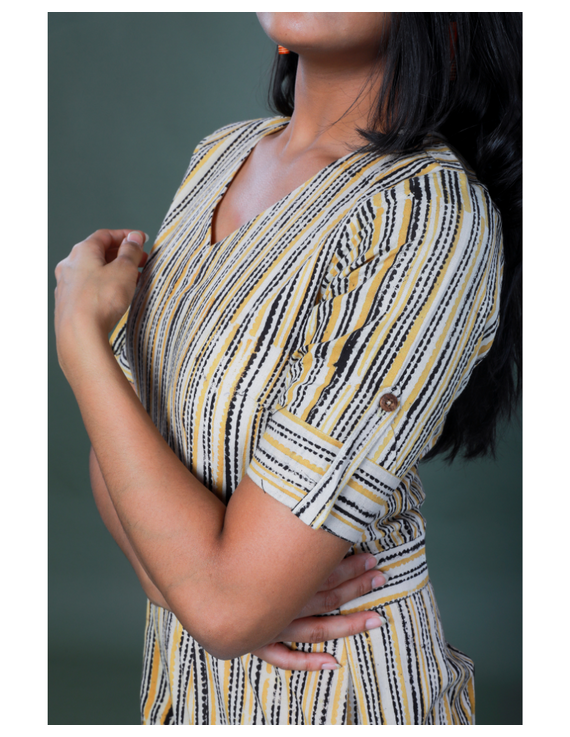 Kalamkari cotton maroon striped jumpsuit : JS100A-XS-XS-2