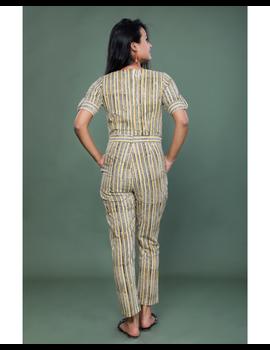 Kalamkari cotton maroon striped jumpsuit : JS100A-M-2-sm