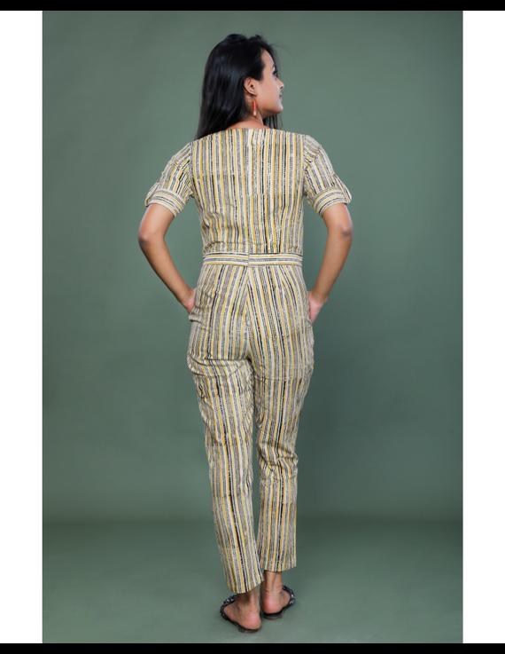 Kalamkari cotton maroon striped jumpsuit : JS100A-M-2